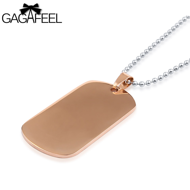 GAGAFFE Custom Engraved Necklace For Men Women Cards Dog Tags  Army Tag Laser Logo Rose Gold Color Stainless Steel  Pendant
