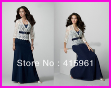 One Piece Navy Blue Long Sleeves Lace Plus Size Chiffon Mother of the Bride Dresses M485