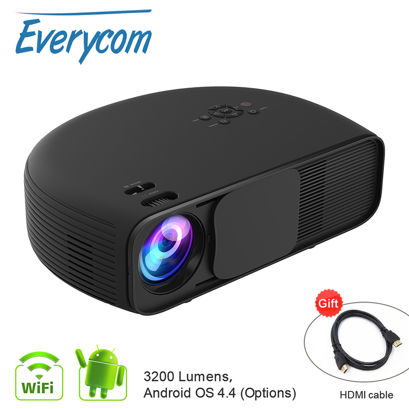 Everycom CL760 3200 Lumen 1280 800Pixels HD Video TV Home Theater Beamer Pico LED Projector Option