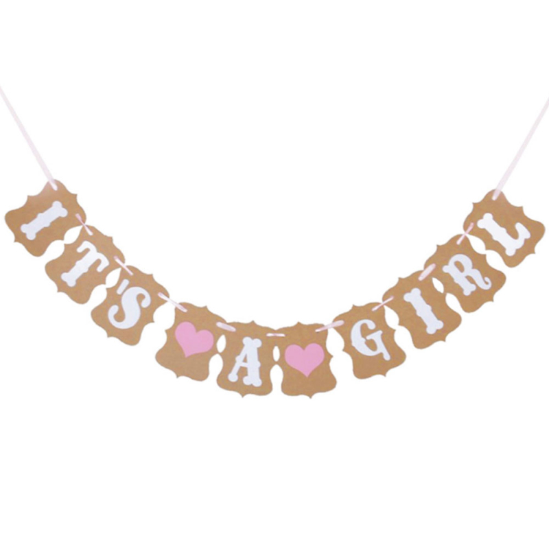 1pcs Its A Girl Baby Shower Banner Decoration Garland Kraft Paper And Ribbon Party Bunting Banner Garland Party Decor Supplies