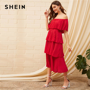 Image 2 - SHEIN Foldover Front Off Shoulder Layered Pleated Dress Solid Ruffle High Waist Women Dresses Glamorous Summer Dress