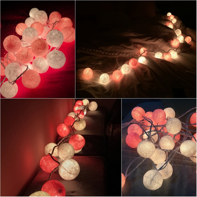 High-quality Cotton Ball Decorative String Light Thai Handmade 20 Balls Thread String Lamp For Home Wedding Party Decoration high quality home party decorative fake yellow reed artificial flower