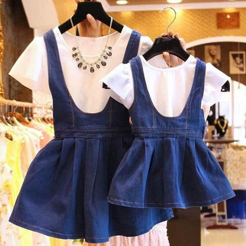 2pcs Mother Daughter Dresses Family Matching Clothes Set T Shirt+Denim Skirt Jeans Dress Mommy Mother And Daughter Me Clothes