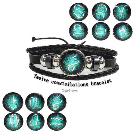 12pcs/lot 12 Zodiac Signs Bracelet Punk Leather Bracelet 12 Constellations Bracelets Men Casual Personality Gold Alloy Bracelet