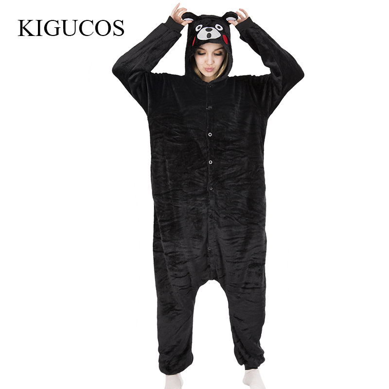 KIGUOS Flannel Black Bear Cartoon Character Cute Warm Pajamas All In One Unisex Adult Lovely Sleepwear Animal Onesies Pajamas