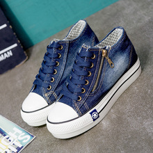 Women Sneakers Thick Bottom Denim Casual Shoes Female Trainers Lace Up Ladies Basket Femme недорого