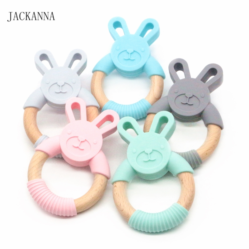 10PCS Rabbit Silicone Teethers Chewable Wooden Ring Bunny Baby Teether Toys Rattle Nursing Baby Shower Gift