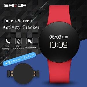 Image 5 - SANDA SD3 موضة عادية النساء/الرجال الذكية تذكير النوم رصد ساعة اليد شاشة OLED تعمل باللمس عداد الخطى الرياضة فستان ساعة رقمية