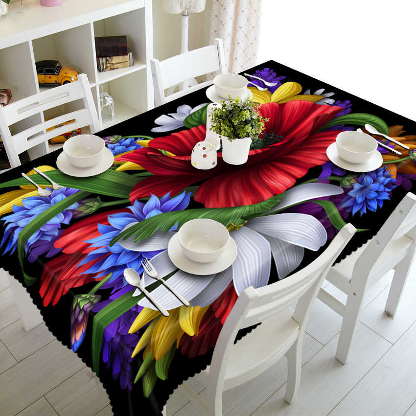 NICEดอกไม้รูปแบบ 3Dผ้าปูโต๊ะโพลีเอสเตอร์กันฝุ่นรูปสี่เหลี่ยมผืนผ้าผ้าปูโต๊ะคริสต์มาสตารางผ้าตกแต่ง