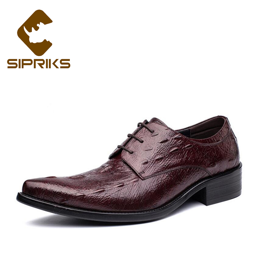 Sipriks Pointed Toe Dress Shoes For Men Burgundy Genuine Leather Formal Tuxedo Shoes Male Wedding Party Shoes Alligator Skin New new 2018 fashion men dress shoes genuine leather pointed toe male wedding shoes autumn men office formal shoes yj a0029