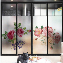 Window Glass stickers Chinese peony window glass door matte transfer light opaque film