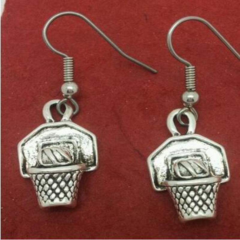 Statement Silver Long Earrings Pendants Finding Fashion Jewelry Holiday Gifts Details Basketball Dangle Drop Style Ball Hoop