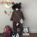 2016 Осень-Весна Детские Мальчики Девочки Устанавливает Cute Bear Уха с длинным Рукавом С Капюшоном Пальто + Брюки 2 Шт. Костюм Устанавливает Случайные Дети одежда