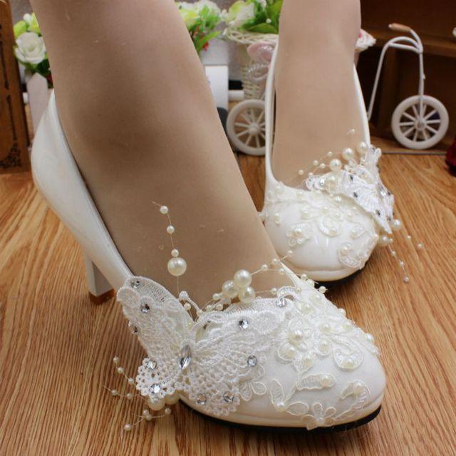 044356430e7 High heel white lace wedding shoes women HS065 stylish romantic bridal shoes  female lady applique lace butterfly brides pump