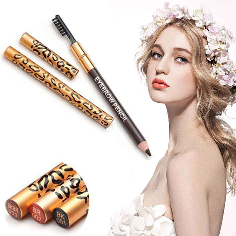 ELECOOL Leopard Eyebrow Pencil Waterproof Black/Brown/Coffee/Gray Color Pencil With Brush MakeUp Eyeliner Eye Liner Makeup Tools