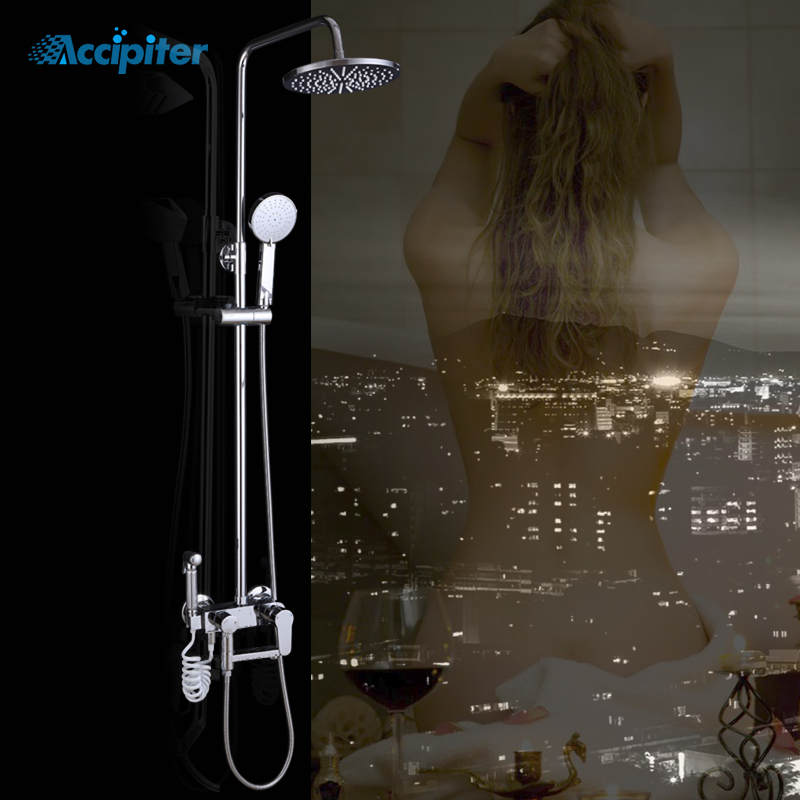 New Luxury Bathroom Set Brass Made Shower faucets Set 4 Functions Roundness Shower head Tap Bathroom Mixer Faucet