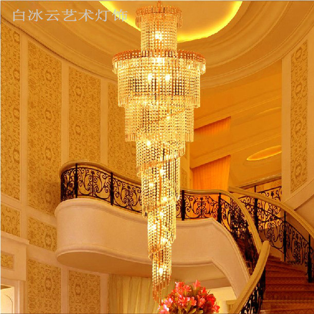Classic Luxury Villa Atmosphere Stairs Crystal Chandelier Hotel Penthouse  Living Room Floor, Yellow Crystal Lighting Fixtures In Pendant Lights From  Lights ...