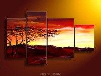 Soyut Kırmızı PineTree dağ Yağlıboya El Boyalı 4 Paneli sanat Seti Oturma Odası Için Ev Dekor Modern Duvar Resmi satış