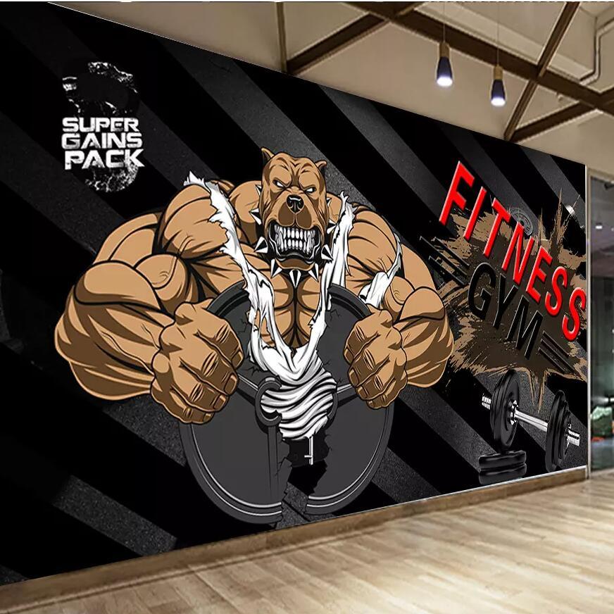 Wellyu Custom Wallpaper Black Background Bodybuilding Bear Gym Background Wall Custom Large Mural Green Wallpaper Mural Aliexpress