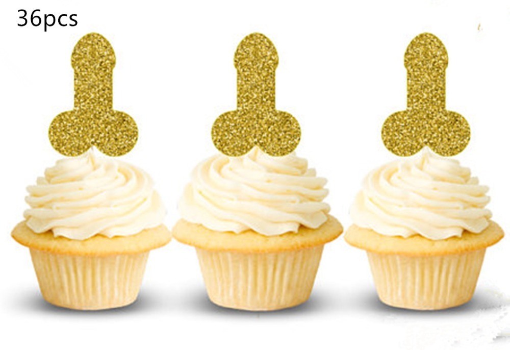 Gold-Penis-Cupcake-Topper-Bridal-Shower-Bachelorette-Party-Decorations-Penis-Cupcake-Toppers-Feather-Hen-party-Feest
