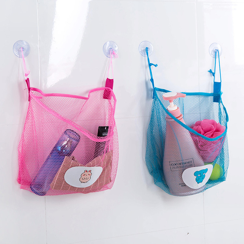 Child Bath Toy Storage Bag Organiser Net Suction Baskets Kids Bathroom Mesh Bag