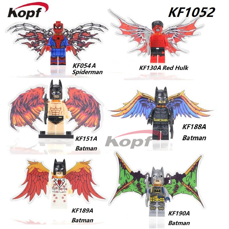 Single Sale Super Heroes Spiderman Deadpool Red Hulk Batman With Wings Bricks Building Blocks Education Toys for children KF1052 single sale pirate suit batman bruce wayne classic tv batcave super heroes minifigures model building blocks kids toys gifts