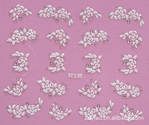 купить  waterproof Water Transfer Nails Art Sticker fashion white 3D flower design girl and women manicure tools Nail Wraps Decals XF135  онлайн