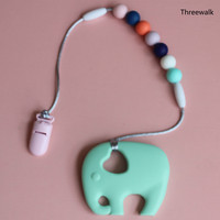 BPA Free Silicone Teething Elephant Teether Clip Plastic Pacifier Silicone Nuring Silicone Baby Chewable Hanging Toys