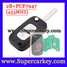 Бесплатная доставка (1 шт.) 2 Кнопочным Пультом Дистанционного Флип Ключ С PCF7947 Чип Для Renault 433 МГЦ