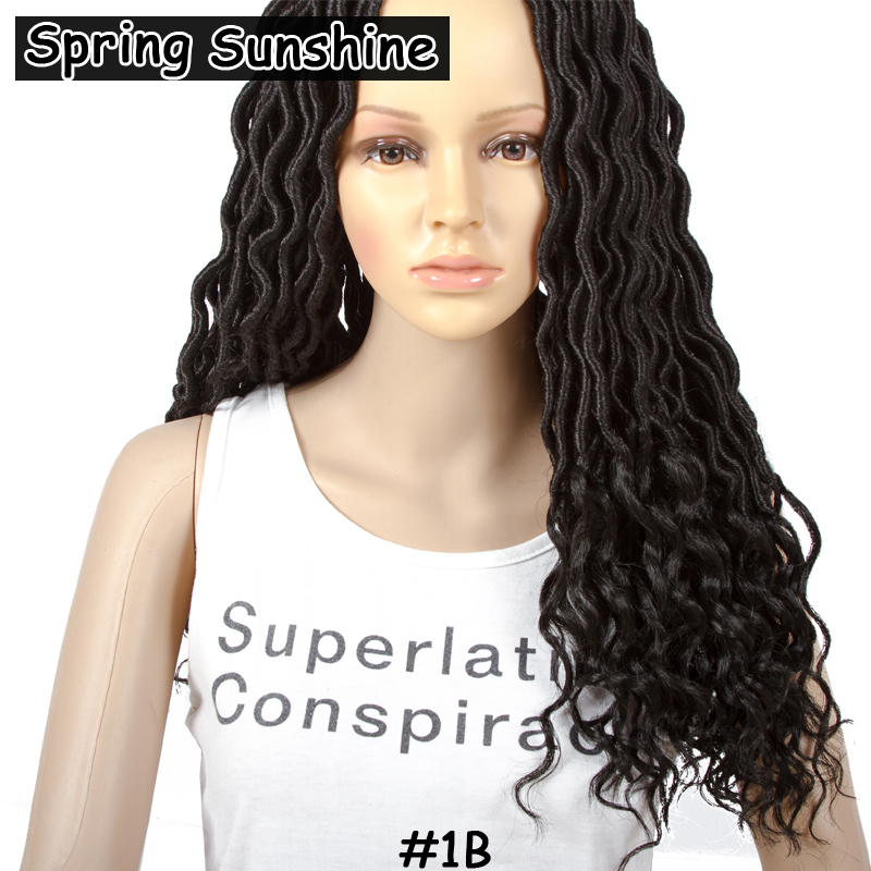 SPRING SUNSHINE 6packs #1B Faux Locs With Curly Ends 18 24stands Faux Locs Curly Crochet ...
