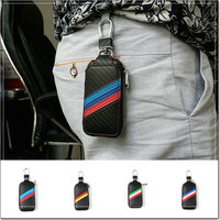 Car Styling Carbon Fiber Color Car Zipper Key Package Auto Keychain FIt For BMW VW Audi