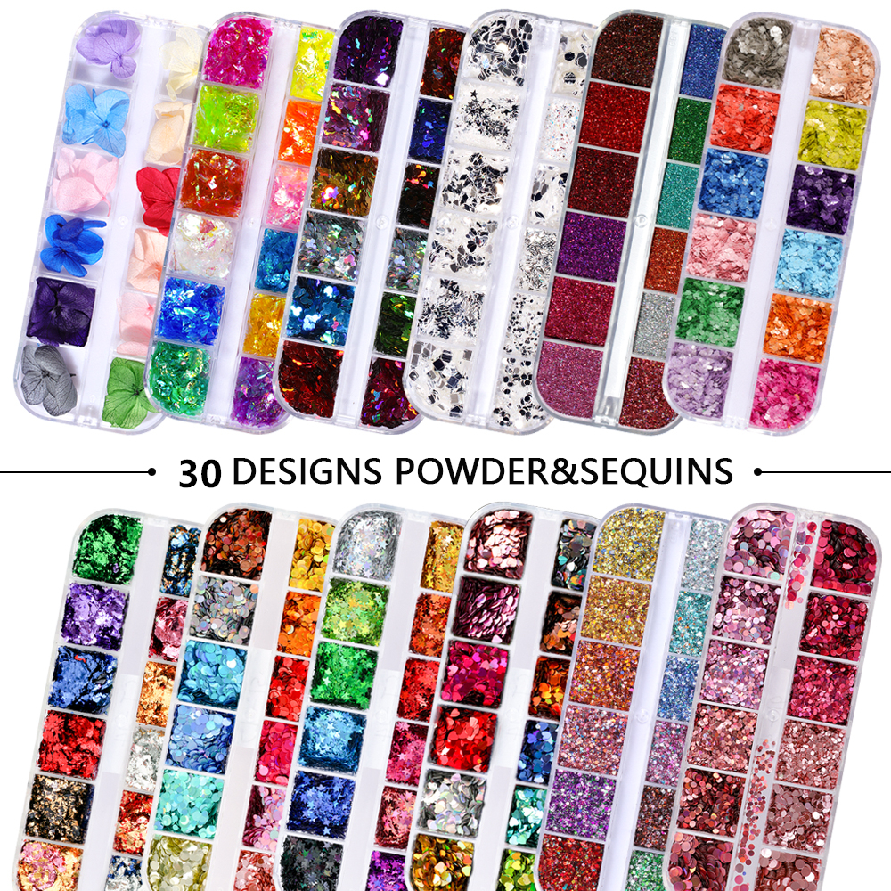 12 Grids/Set Mixed size Nail Glitter Flakes 3D Sequins Paillette Powder Charm Nail <font><b>Art</b></font> Decoration Manicure <font><b>tools</b></font> CT01-20 image