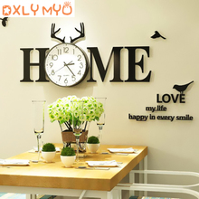 3D Mirror Wall Stickers Decor Fashion Electronic Clock Black Sticker Diy Living Room Decoration Home