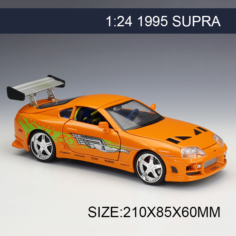 цена на 1:24 Model Car 1995 Supra Orange Metal Vehicle Play Collectible Models Sport Cars toys For Gift FAST AND FURIOUS 8 F8