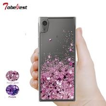 For Sony Xperia XA2 Ultra Glitter Liquid Case Silicone Coque Dynamic Qicksand Star Love heart Cover