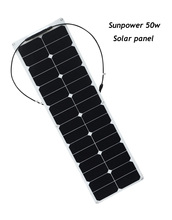 18V 50W Flexible Solar Panels  for Fishing Boat Car RV 12V Battery Charger and 10A Controller