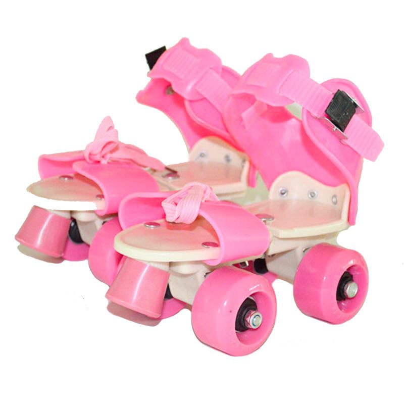 New Children Two Lines Roller Skates Double Row 4 Wheel Skating Shoes Free Size Sliding Slalom Inline Skates Gifts For Kids IB02 lk715 adults roller skates double row 4 pu wheel skating shoes lace up white skates men women sneakers size 35 44