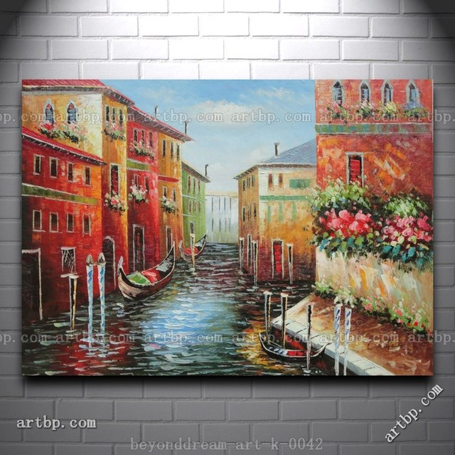 Italian love story at venice oil painting impressionism canal black white canvas painting paintings for living