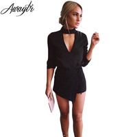 Awaytr Spring Deep V Neck Black Jumpsuit Women Elegant Halter Romper 3 4 Sleeve Short Playsuit