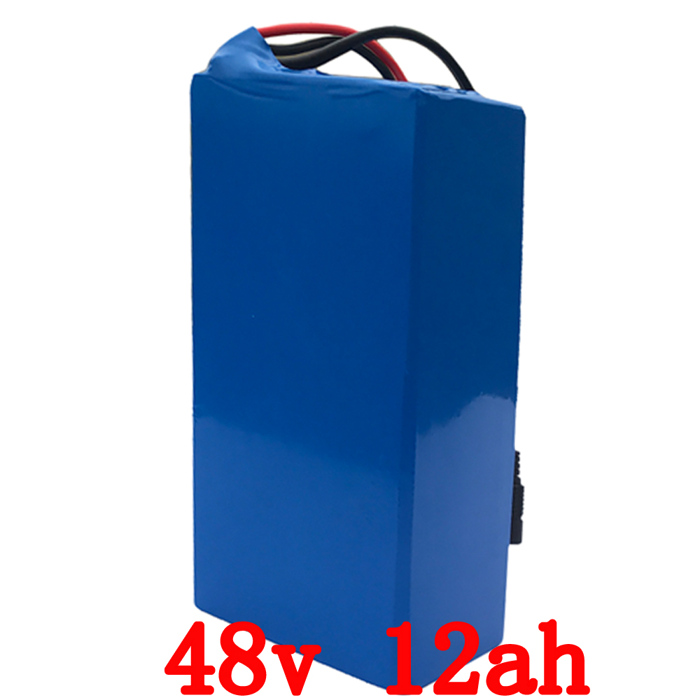Free customs taxes rechargeable lithium battery 48v 12ah lithium ion battery 48v 12ah li-ion battery pack +2A charger+20A BMS 48v 15ah lithium ion li ion rechargeable chargeable battery 5c inr 18650 for electric bicycles 100km 48v power supply