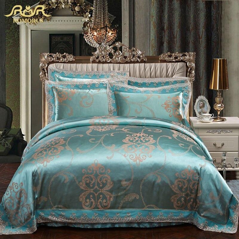 Romorus 2017 new luxury turquoise blue blue satin for New duvet covers 2017
