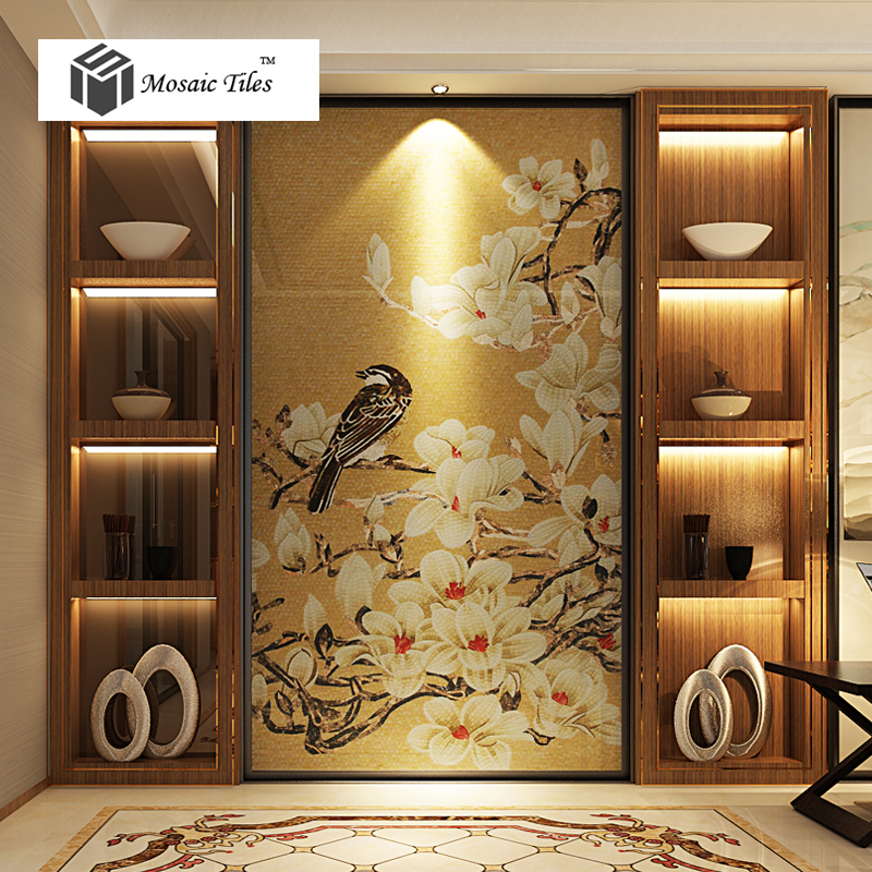 Unique Theme Design Nature Style Magpie Lucky Bird Fl Art Mosaic Gallery Decor Gold Backsplash Tiles Bisazza On Aliexpress Alibaba