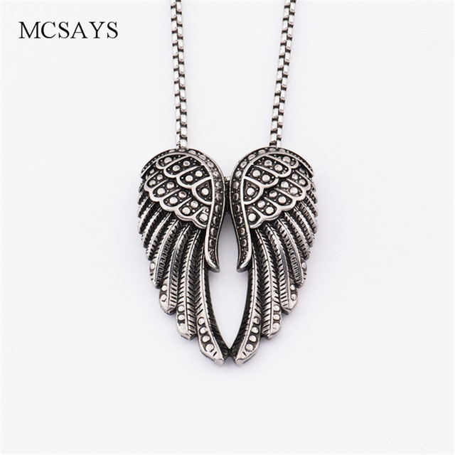 Mcsays stainless steel punk necklace black angel wings pendant box mcsays stainless steel punk necklace black angel wings pendant box chain silver color special necklace mens aloadofball Choice Image