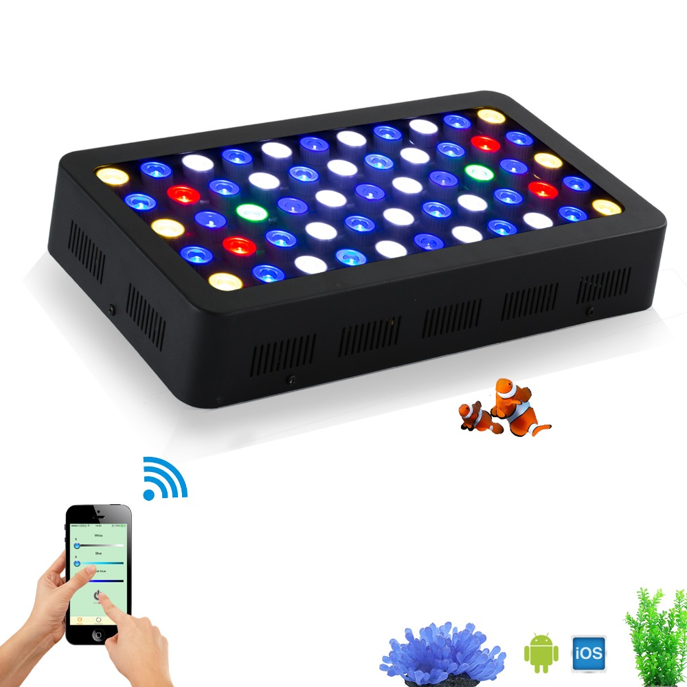 Stock in US China 165w WIFI Dimmable LED Aquarium Light Full spectrum moonlight aquarium led lighting lamp for reef coral fish цена и фото