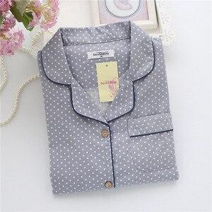 Image 3 - Pyjamas à pois simples ensembles femmes 100% coton printemps japonais décontracté femmes vêtements de nuit à manches longues pyjamas