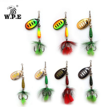 W.P.E KOMODO 1pcs Spinner Lure 8.5g Brass Metal Spoon Fishing Lure Feather Treble Hook Bass Lure Hard Bait Fishing Tackle Pike 10pcsbrass tickers brass lure bodies brass weight sinker diy spinner buzzbait fishing lures