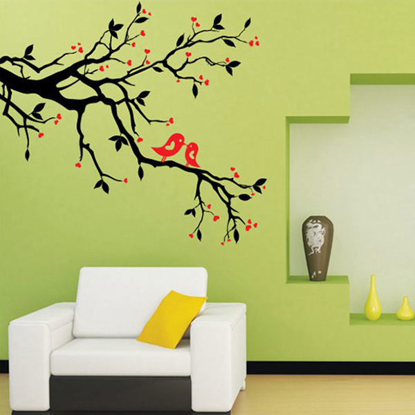 art mural wall sticker home office bedroom decor vinyl wall stickers decal love heart tree bird - Design Stickers For Walls