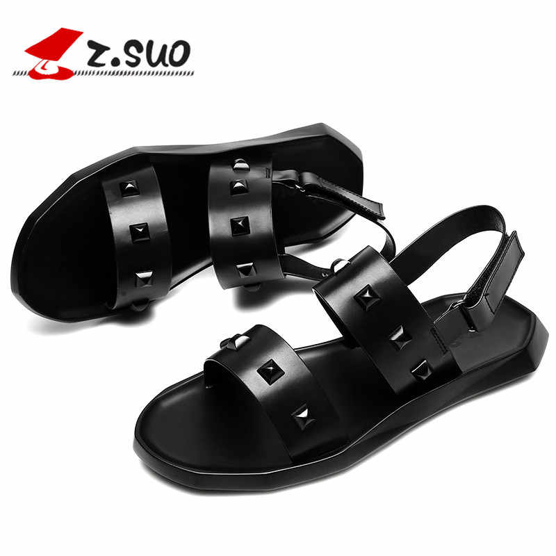 Z. Suo/мужские кожаные сандалии; коллекция 2018 года; летняя модная пляжная обувь для отдыха; римские тапочки на плоской подошве с заклепками в стиле ретро; Мужская обувь; 19607