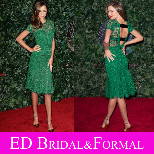 Miranda Kerr Emerald Green Dress Short Sleeve Knee Length Venice Lace Open Back Evening Prom