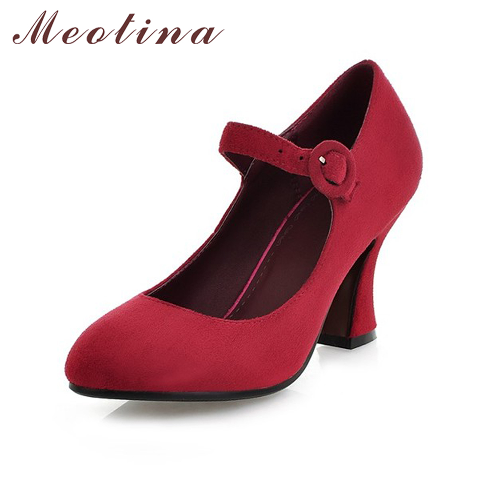 Meotina Women Shoes Pumps Autumn Round Toe Mary Jane Casual Thick High Heels Ladies Shoes Solid Plain Black Red Blue Size 34-39 цены онлайн